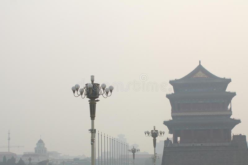 Tiananmen tower enveloped by the heavy fog and haze stock photos