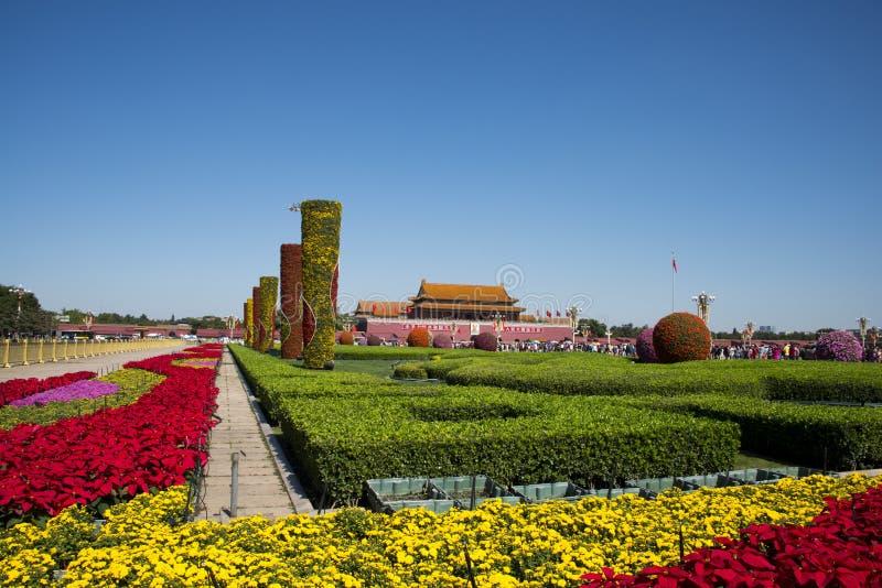 Tiananmen vierkant China, Azië, Peking, Nationale Dag, bloembed, royalty-vrije stock fotografie