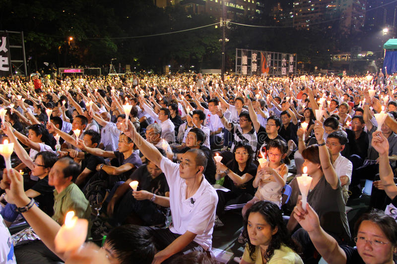 Tiananmen Vigil in Hong Kong 2009. 150,000 people converged on Victoria Park to mark the 20th anniversary of the bloody crackdown on pro-democracy protesters in royalty free stock photography