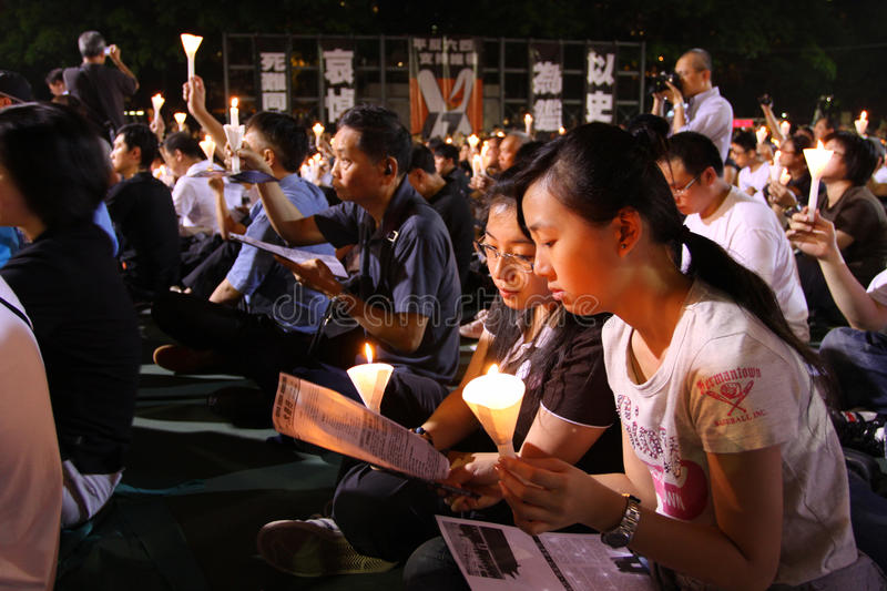 Tiananmen Vigil in Hong Kong 2009. 150,000 people converged on Victoria Park to mark the 20th anniversary of the bloody crackdown on pro-democracy protesters in royalty free stock photo