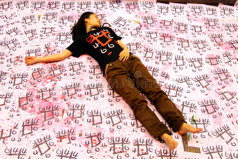 Tiananmen Vigil in Hong Kong 2009. Performance Art at the 20th anniversary of the bloody crackdown on pro-democracy protesters in Tiananmen Square royalty free stock image