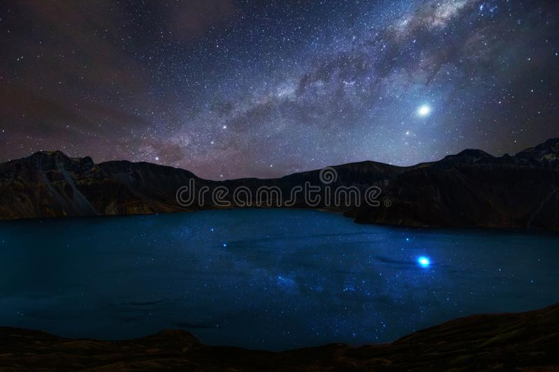 Tianchi in Changbai Mountain under starry sky stock photography