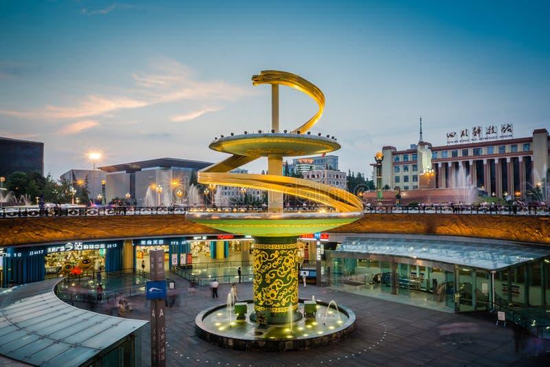 Tianfu-Quadrat in im Stadtzentrum gelegenem Chengdu stockbilder