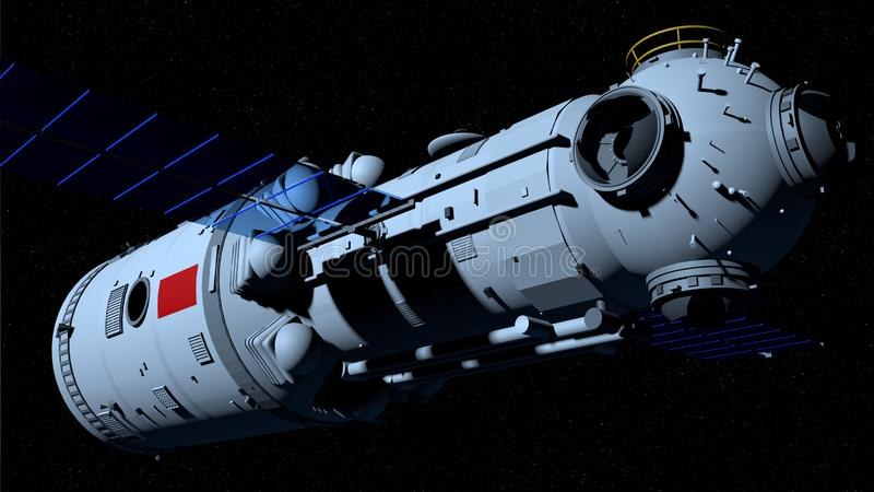 TIANHE core module of the TIANGONG 3 - Chinese space station flying on black space with stars background. 3D Illustration stock illustration