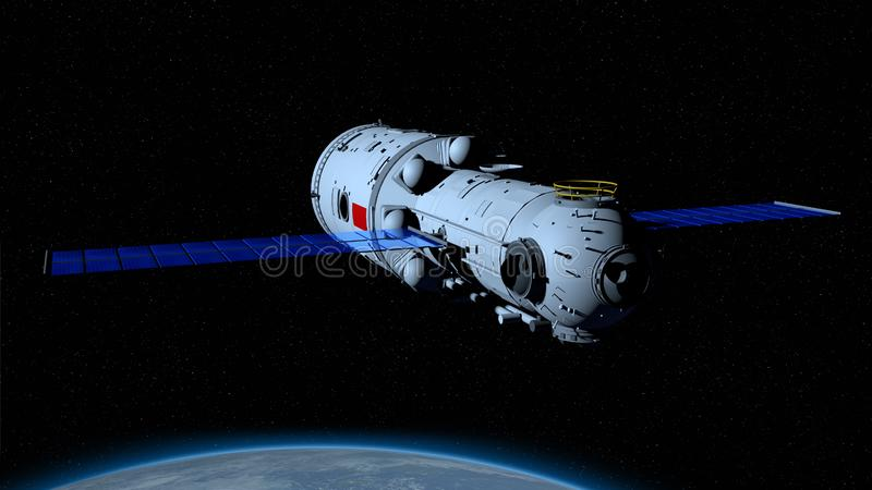 TIANHE core module of the TIANGONG 3 - Chinese space station orbiting the planet Earth behind on black space with stars background vector illustration