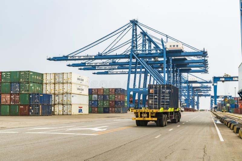 Tianjin,China,Jul 04 2017-Shipping cargo to harbor by crane,tianjin,china. Tianjin,China,Jul 04 2017-Shipping cargo to harbor by crane,tianjin,china stock images