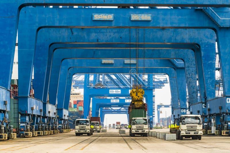 Tianjin,China,Jul 04 2017-Shipping cargo to harbor by crane,tianjin,china. Tianjin,China,Jul 04 2017-Shipping cargo to harbor by crane,tianjin,china stock image