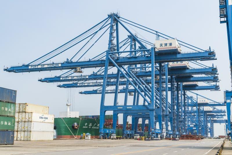 Tianjin,China,Jul 04 2017-Shipping cargo to harbor by crane,tianjin,china. Tianjin,China,Jul 04 2017-Shipping cargo to harbor by crane,tianjin,china royalty free stock photo