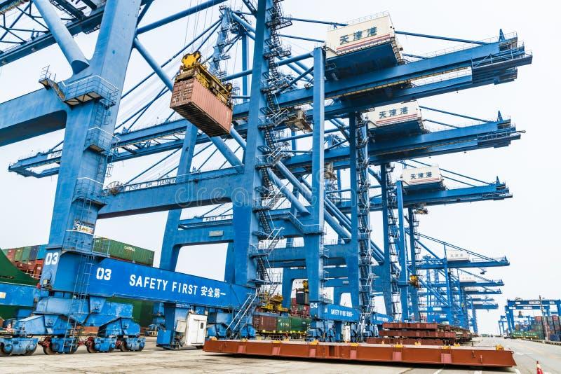 Tianjin,China,Jul 04 2017-Shipping cargo to harbor by crane,tianjin,china. Tianjin,China,Jul 04 2017-Shipping cargo to harbor by crane,tianjin,china stock photography