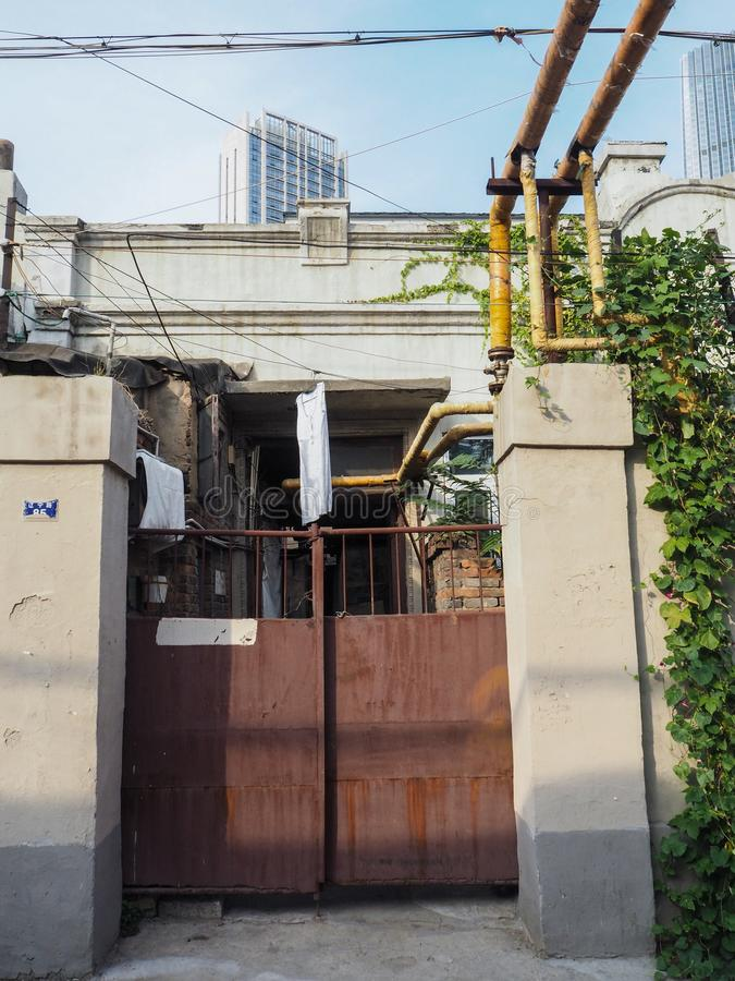 Traditional old neighborhood in Tianjin French concession. Tianjin, China - September 2017: Old house in the French concession in the city center of Tianjin stock photo
