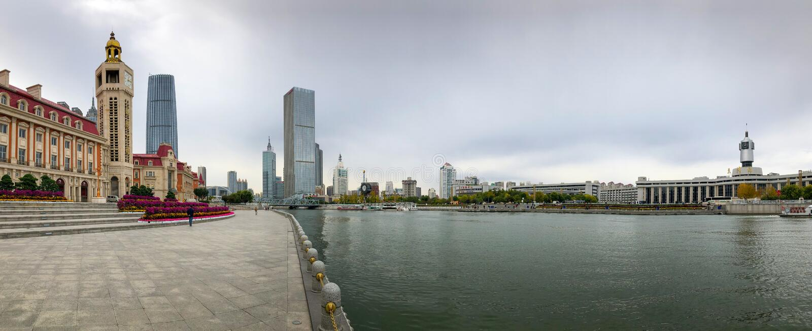 Tianjin cityscape with Haihe river and skycrapers. stock photos