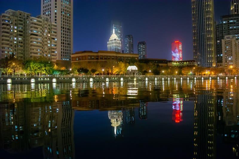 Tianjin-Gebäude, Downtown view, China, 2019 November stockfoto