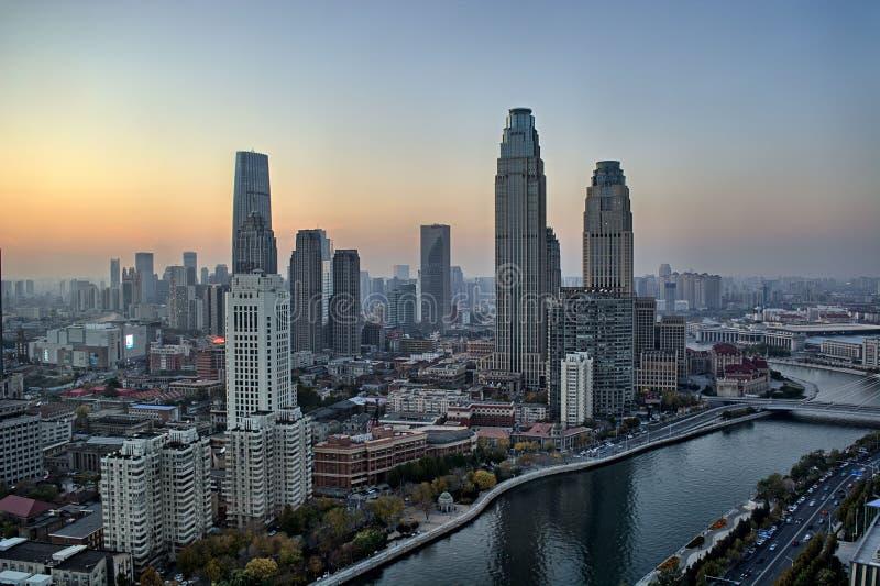 Tianjin-Gebäude, Stadtblick, China, 2019 November lizenzfreies stockbild