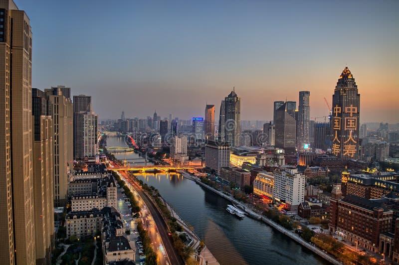 Tianjin-Gebäude, Stadtblick, China, 2019 November stockbild