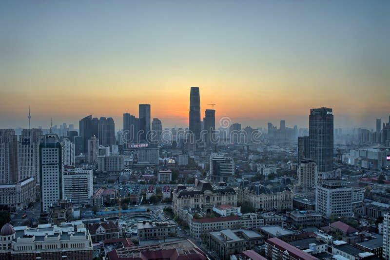 Tianjin-Gebäude, Stadtblick, China, 2019 November lizenzfreies stockfoto