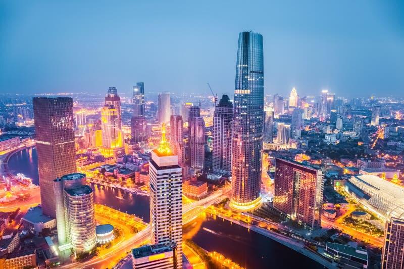 Tianjin på natten royaltyfria bilder