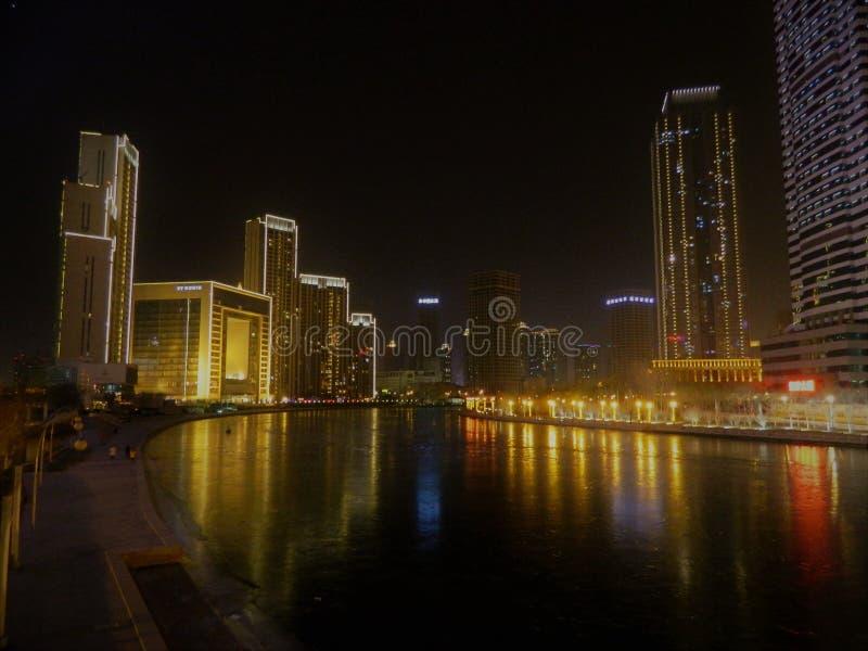 Tianjin vid natt royaltyfri bild