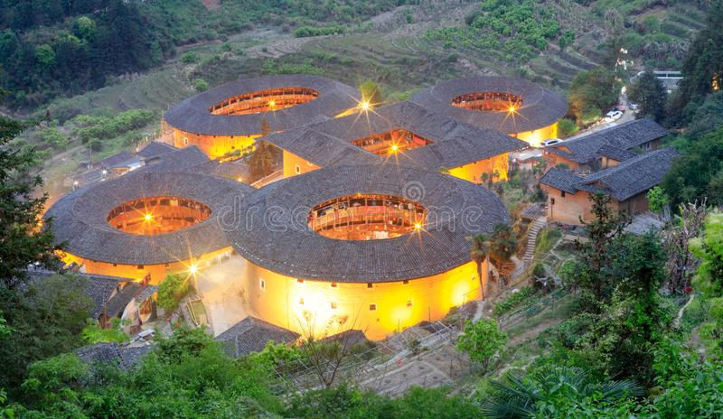 Tianluokeng tulou building group night view, srgb image stock images