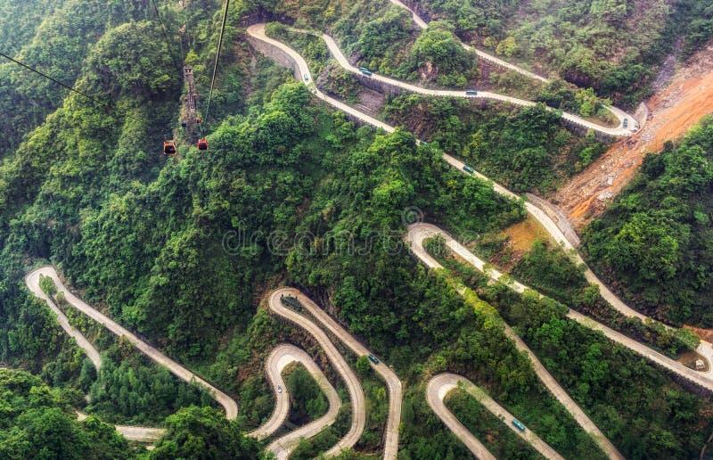 Tianmen mountain winding road stock photos