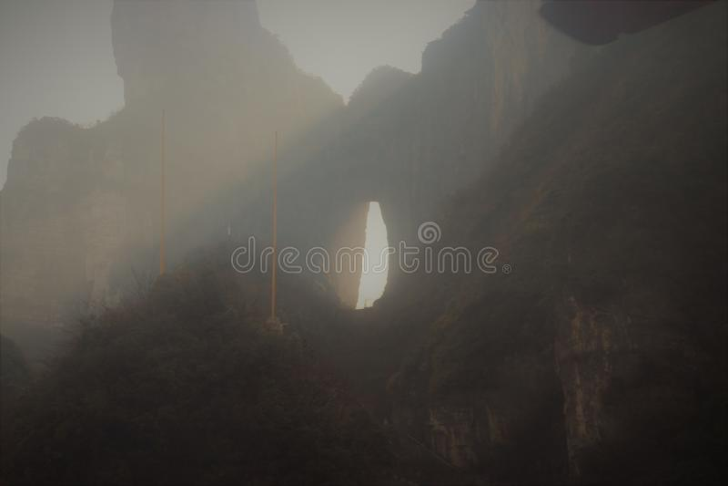 Tianmen väg Zhangjiajie - Kina arkivbild