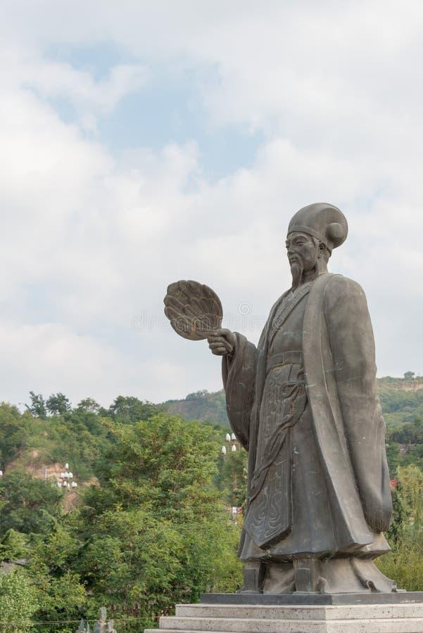 TIANSHUI, CHINA - 6 DE OUTUBRO DE 2014: Estátuas de Zhuge Liang em Tianshui fotos de stock