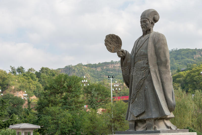 TIANSHUI, CHINA - OCT 6 2014: Statues of Zhuge Liang in Tianshui, Gansu, China. Zhuge Liang (181–234) was a chancellor of the s. Tate of Shu Han stock photo