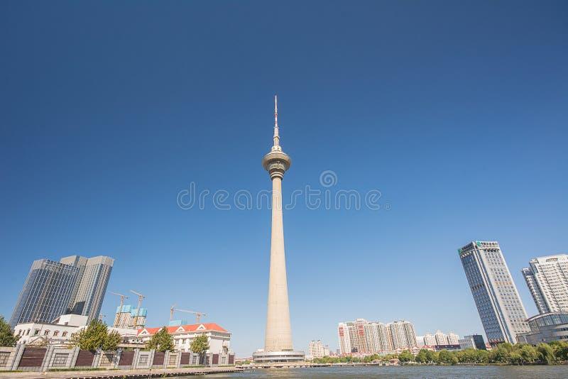 Tianta, torre da tevê na cidade de Tianjin, China imagens de stock royalty free