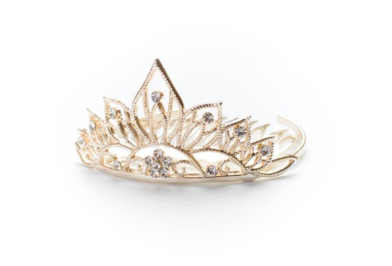 Tiara, coroa ou diadem dourado isolado fotografia de stock royalty free