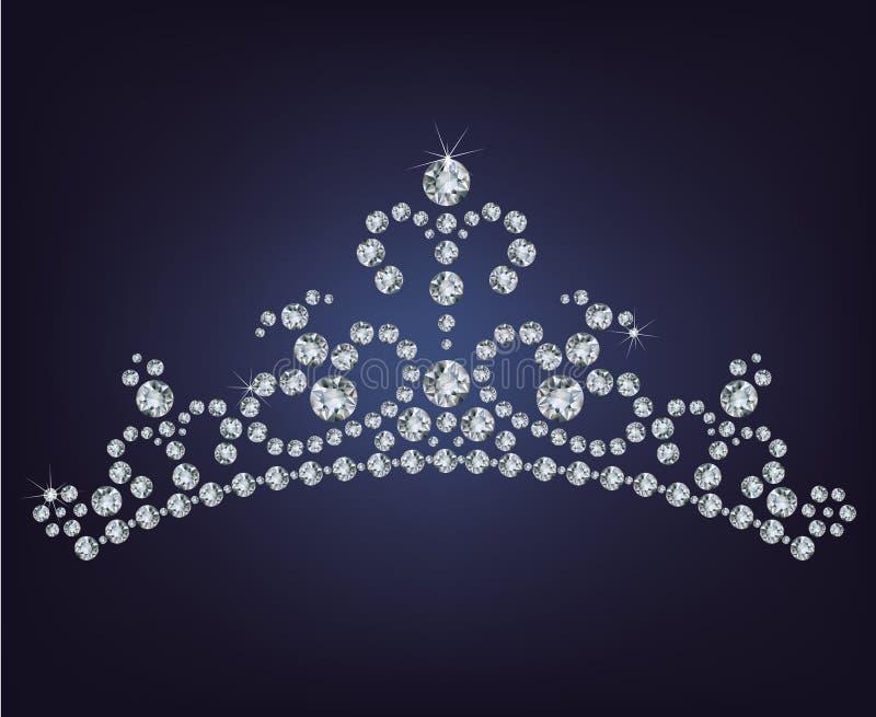 Tiara crown women's wedding stock illustration