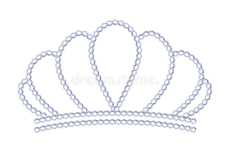 Tiara för Symple stilsilver med diamanter stock illustrationer
