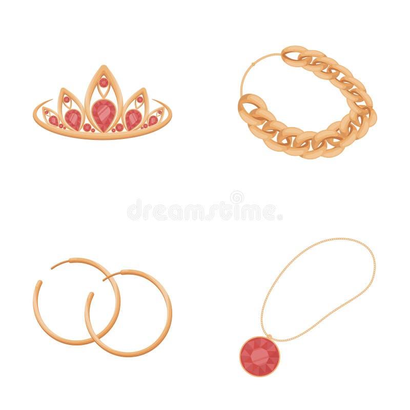 Tiara, Goldkette, Ohrringe, Anhänger mit einem Stein Schmuck und Zubehör stellten Sammlungsikonen im Karikaturartvektor ein vektor abbildung