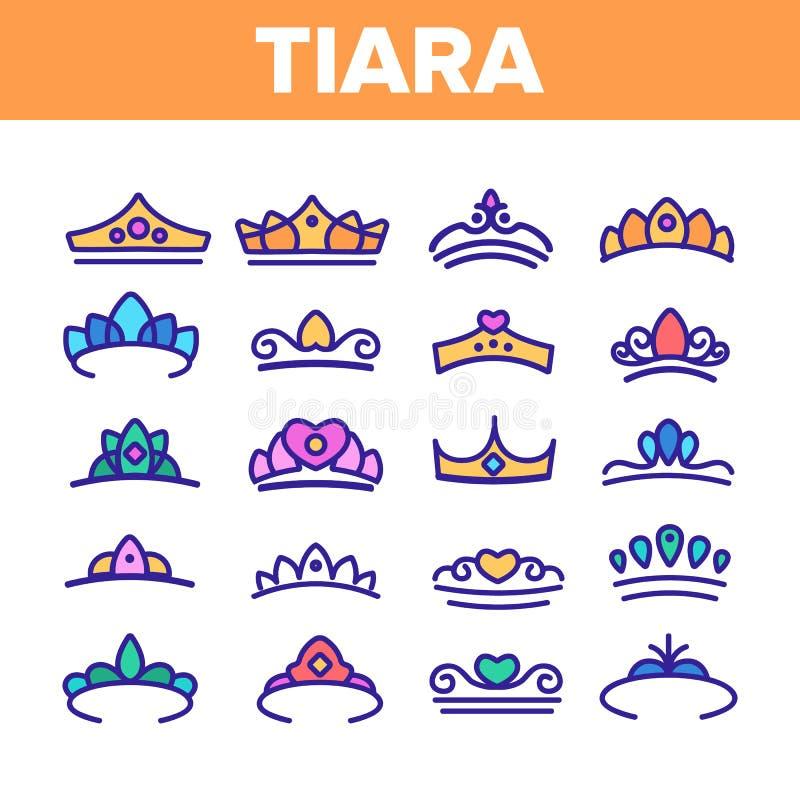 Tiara, k?niglicher zus?tzlicher Vektor-d?nne Linie Ikonen-Satz vektor abbildung