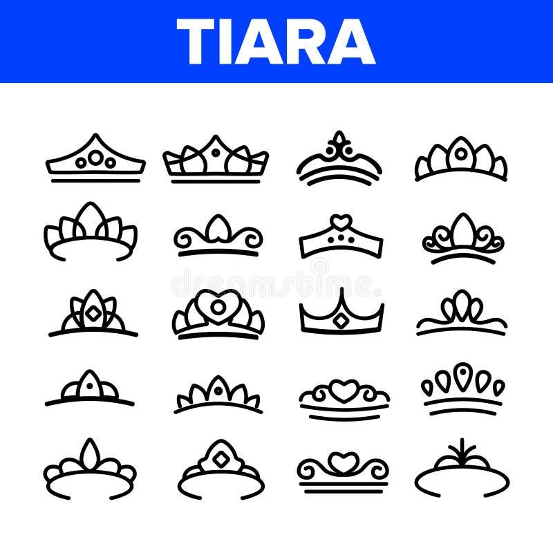 Tiara, Królewskiego Akcesoryjnego wektoru Cienkie Kreskowe ikony Ustawiać ilustracji