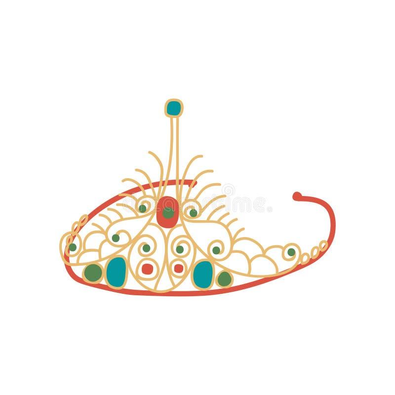 Tiara met Halfedelstenen, Colden-de Bijkomende Vectorillustratie van Diadeemjuwelen vector illustratie