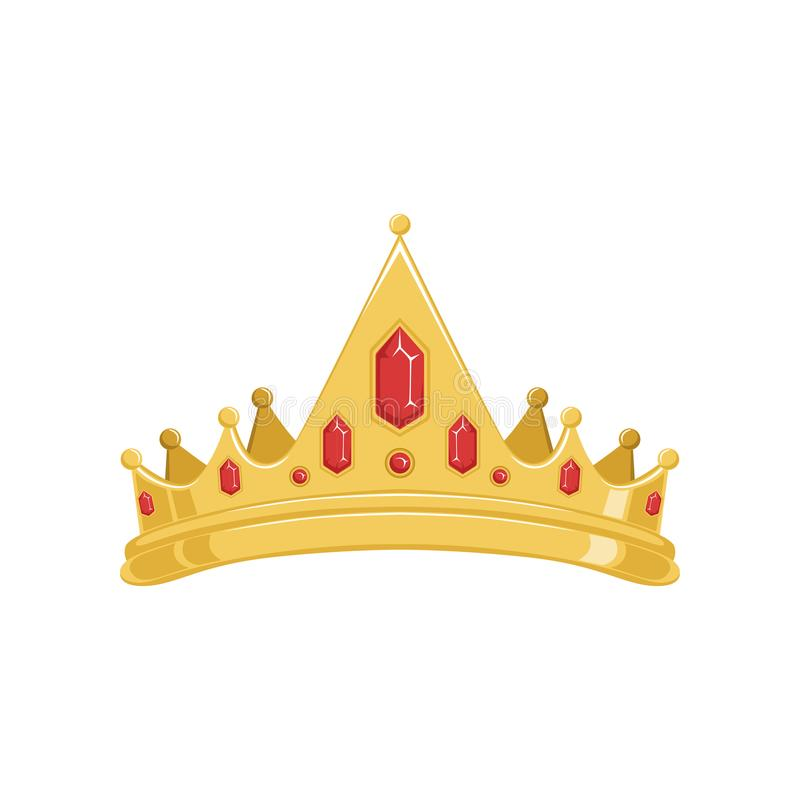 A tiara ou a coroa antiga dourada com as pedras preciosas vermelhas vector a ilustração ilustração do vetor