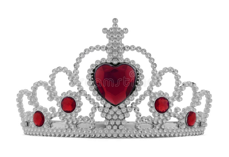 Tiara Red. Girls Silver Tiara Crown with Red Heart Isolated on White Background stock photography