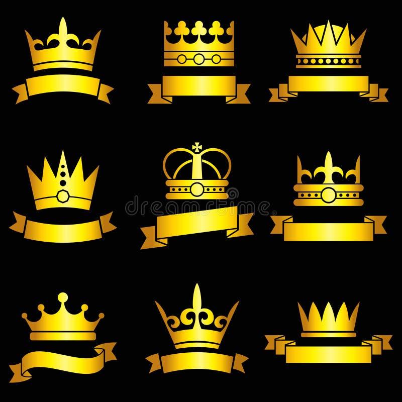 Tiaras del rey, coronas del oro y sistema medievales del vector de la bandera de la cinta ilustración del vector