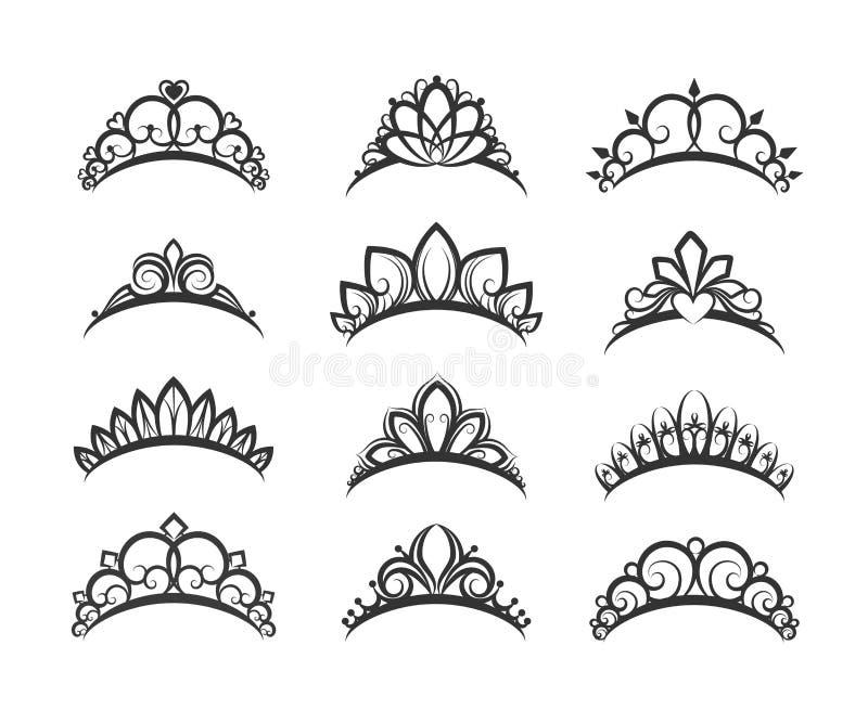 Tiaras hermosas de la reina fijadas stock de ilustración