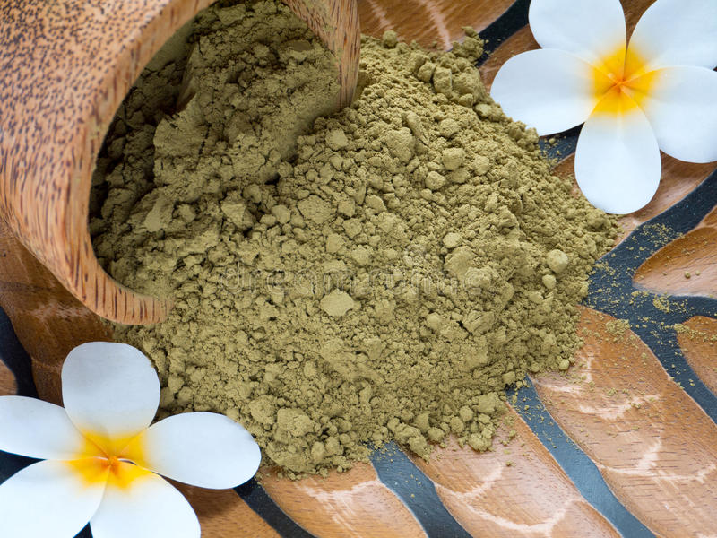 Tiare flowers and henna powder royalty free stock images