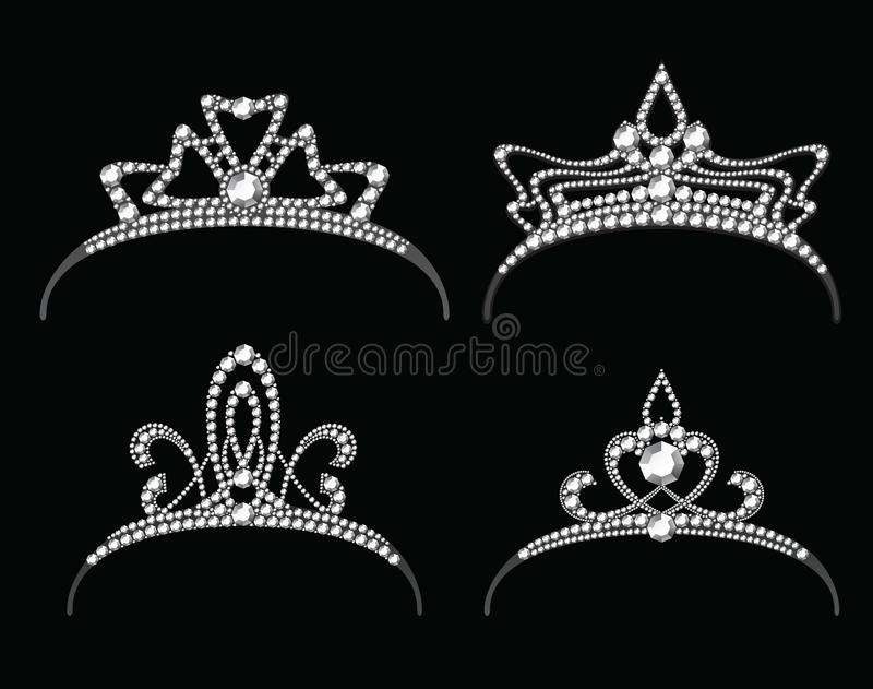 Tiaror och kronor med diamantvektoruppsättningen royaltyfri illustrationer