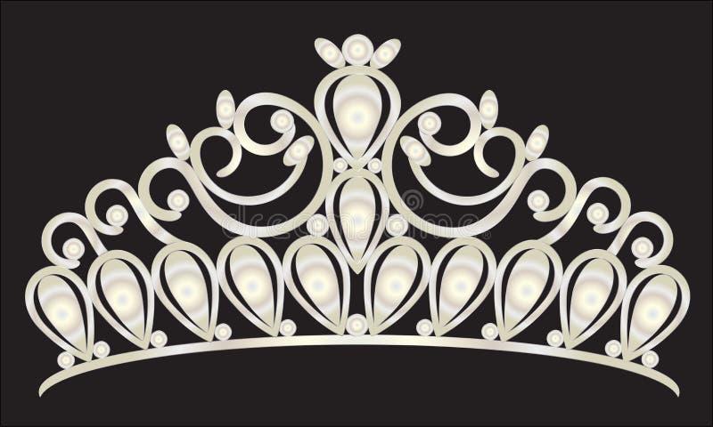 Tiary korony kobiet ślub z białymi kamieniami ilustracji