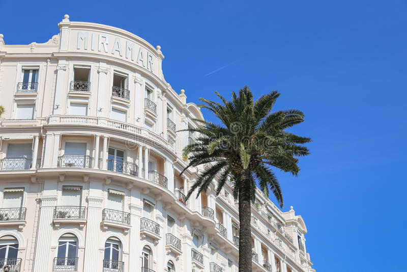 Tiary Miramar plaży zdrój w Cannes & hotel fotografia stock