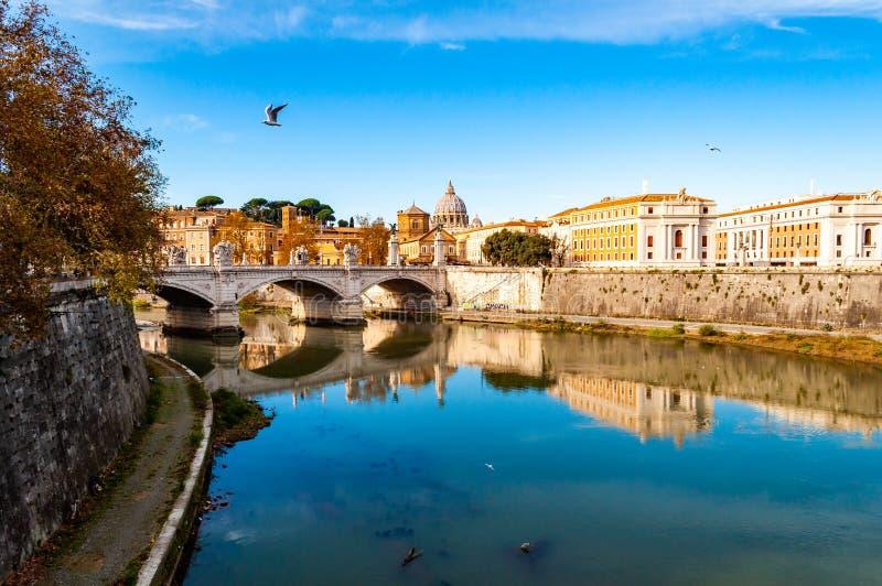 Tiber-Flussströme, Brücke Ponte Vittorio Emanuele II, fliegende Seemöwen und Rom-Stadtbildansicht mit St- Peterhaube auf stockfotografie