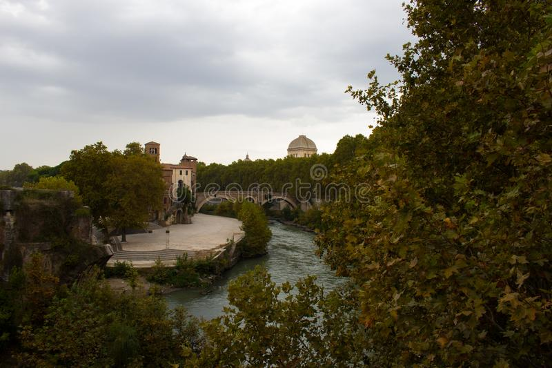 Tiber Island, artistic jewel in the heart of Rome on the Tiber stock photography