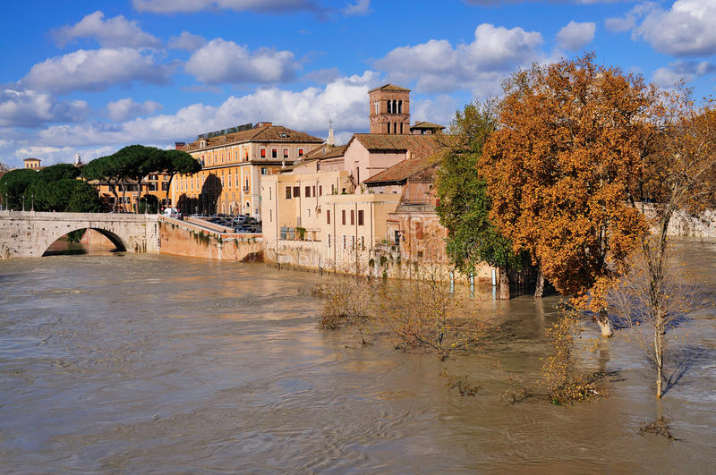 Tiber Island, Rome. A picture of the Tiber Island in Rome taken in the winter royalty free stock photos
