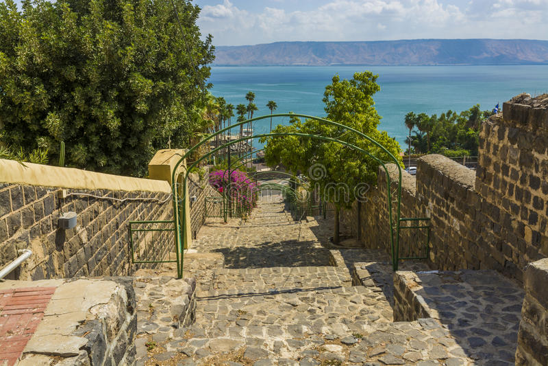 Tiberias esplanade to Sea of Galilee royalty free stock image
