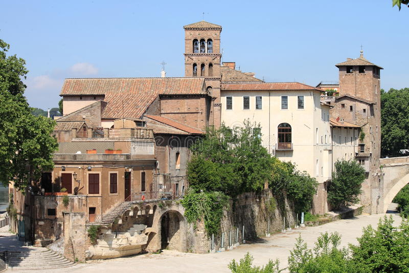 Tiberina island in Rome stock photo