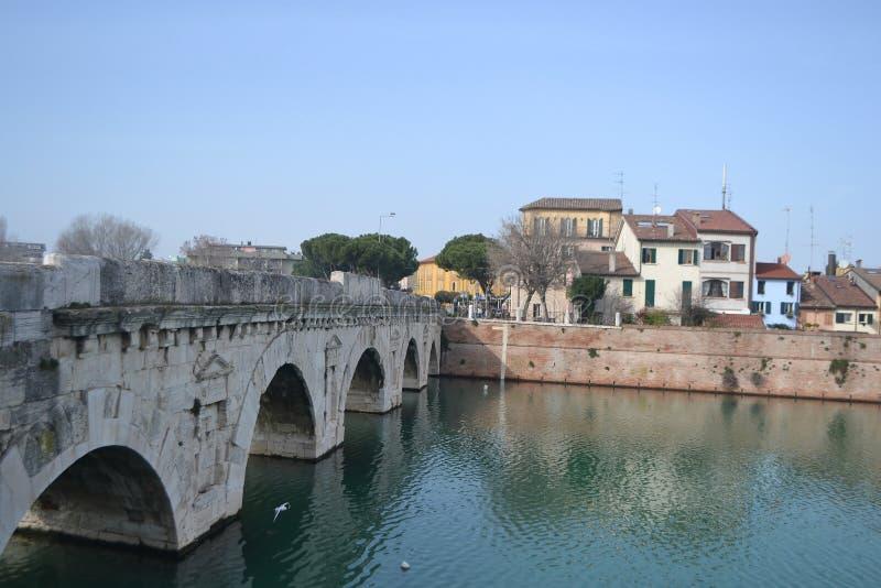 Tiberius桥梁在里米尼 库存照片