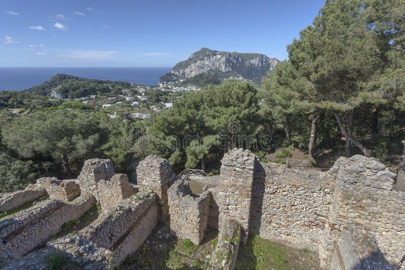 Tiberius villa Jovis i Capri arkivbilder