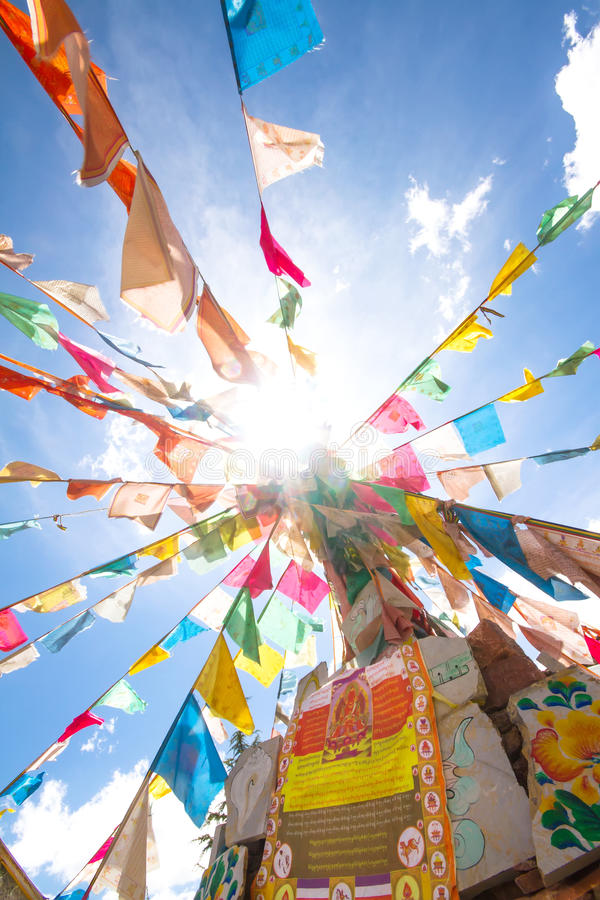 Tibet flaggor royaltyfria bilder